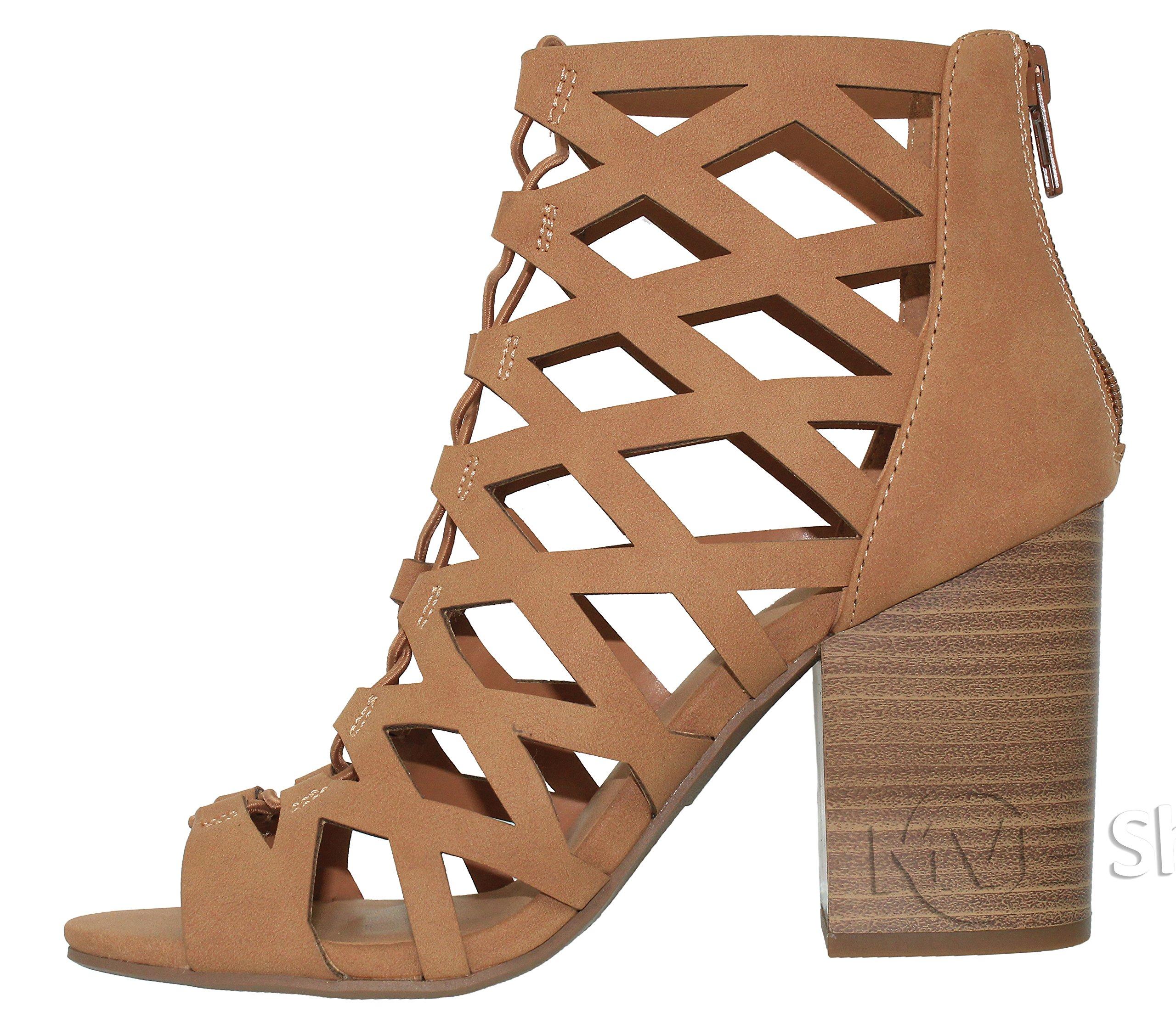 MVE Shoes Women's Open Toe Strappy Back Zipper Chunky Heel, tan nb Size 10 by MVE Shoes (Image #3)