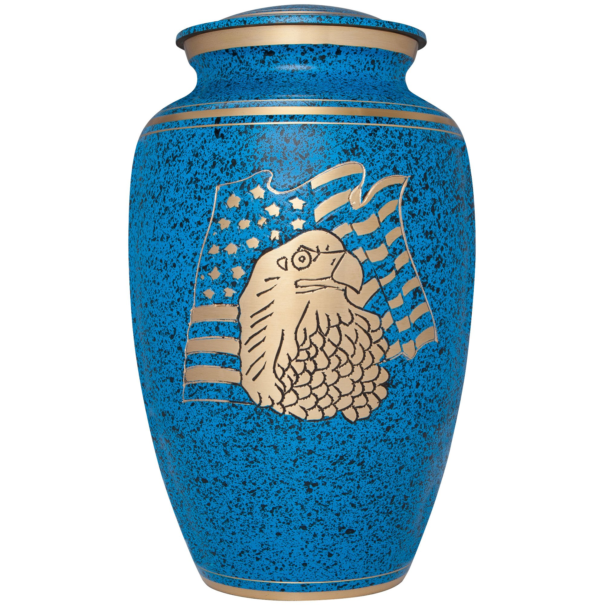 Liliane Memorials Blue Funeral Cremation Urn with American Flag Eagle Model in Brass for Human Ashes Suitable for Cemetery Burial Large Size Fits Remains of Adults up to 200 lbs, Large/200 lb by Liliane Memorials