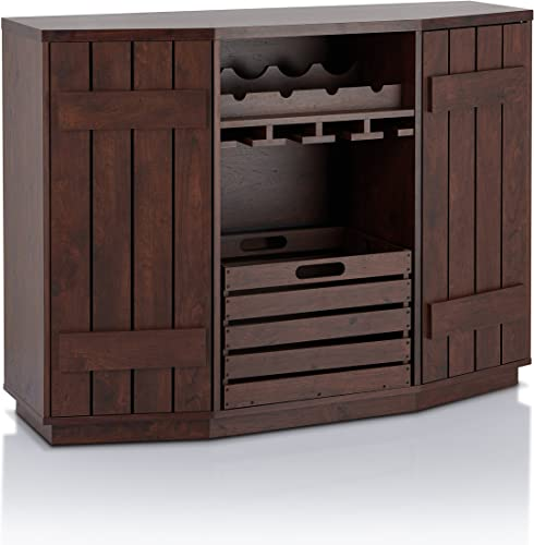 ioHOMES Lopez Transitional Plank-Style Buffet Server with Removable Crate, Dual Cabinets and Four Bottles Wine Rack Sideboard, Vintage Walnut