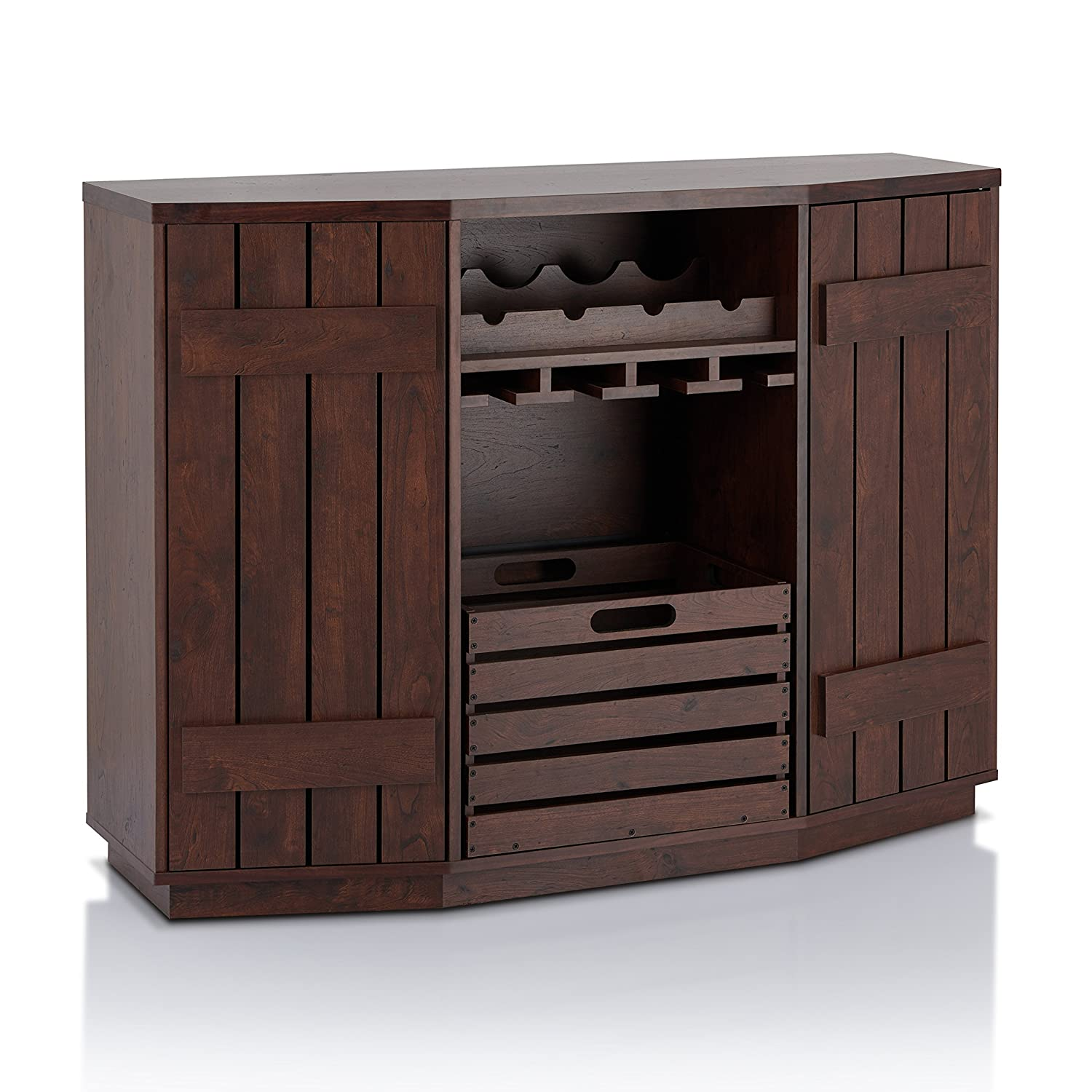 ioHOMES Lopez Plank Style Server with Removable Crate - Vintage Walnut