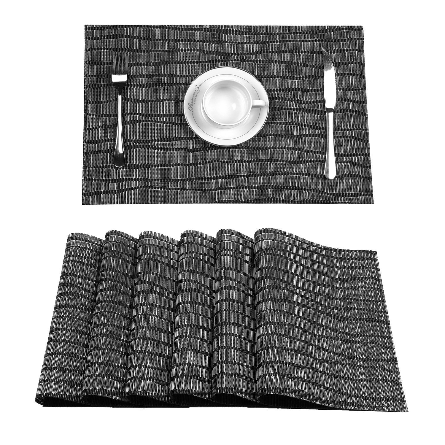 Topotdor Placemats set of 6 PVC Non-slip Insulation Stain-resistant vertical stripes Placemats for Home, Kitchen,Office and Outdoor (Set of 6, Black) by Topotdor (Image #2)