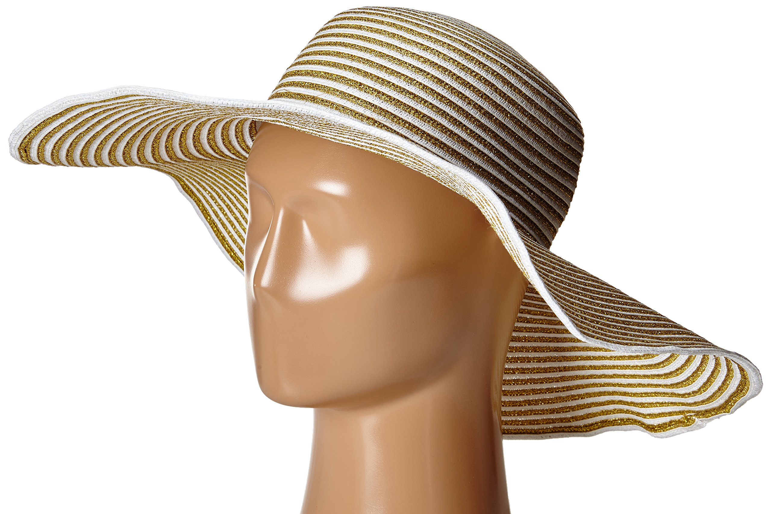 Gottex Women's Morgana Metallic Straw Packable Sun Hat, Rated UPF 50+ For Max Sun Protection, White/Gold, One Size