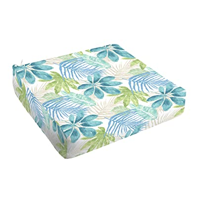 Mozaic AMCS115825 Indoor or Outdoor Square Chair Seat Cushion with Round Corners, 23 x 25 x 5, Tropical Blue & Green : Garden & Outdoor