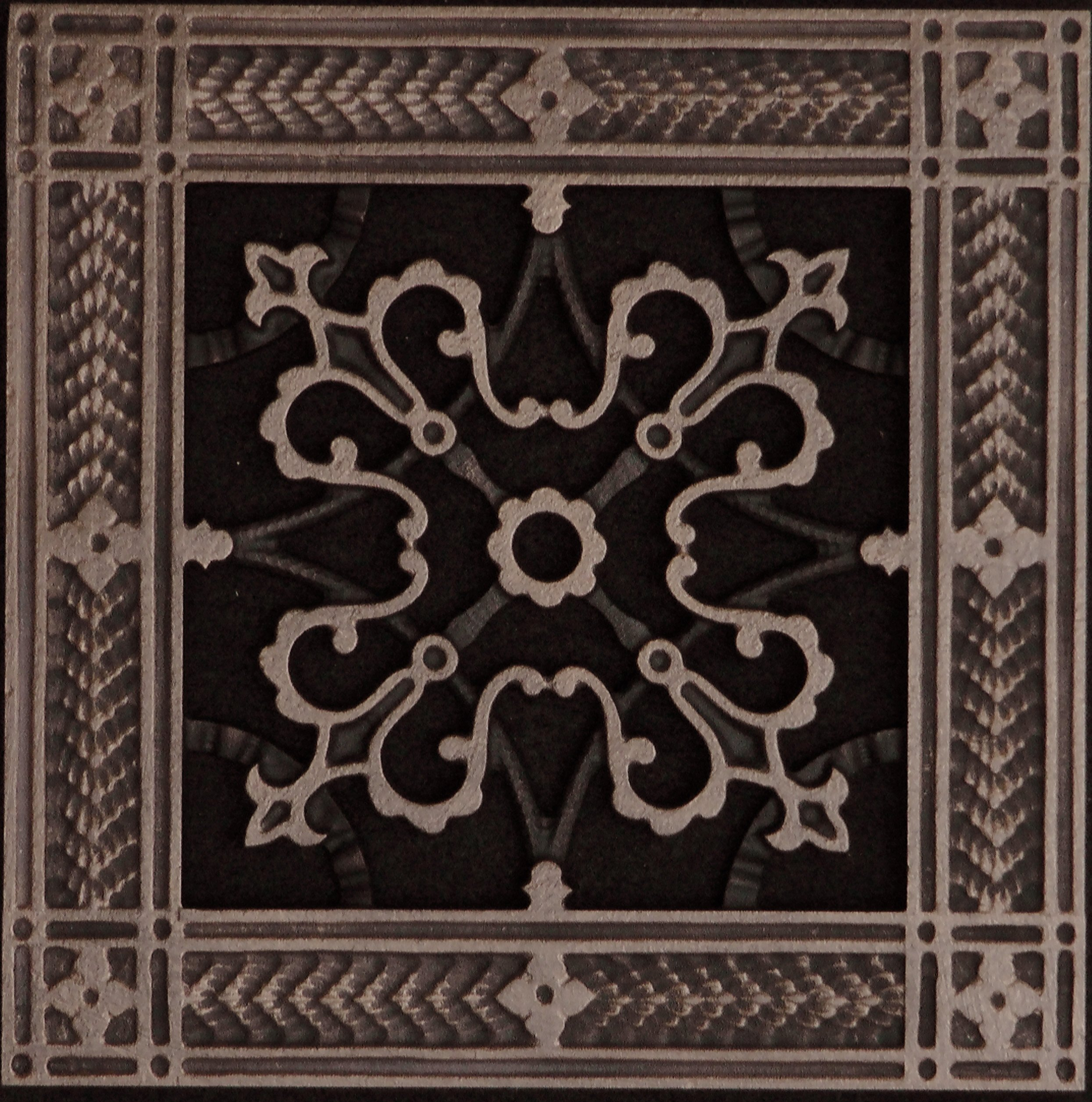 """Decorative Grille, Vent Cover, or Return Register. Made of Urethane Resin to fit over a 6''x6'' duct or opening. Total size of vent is 8""""x8''x3/8'', for wall and ceiling grilles (not for floor use)."""