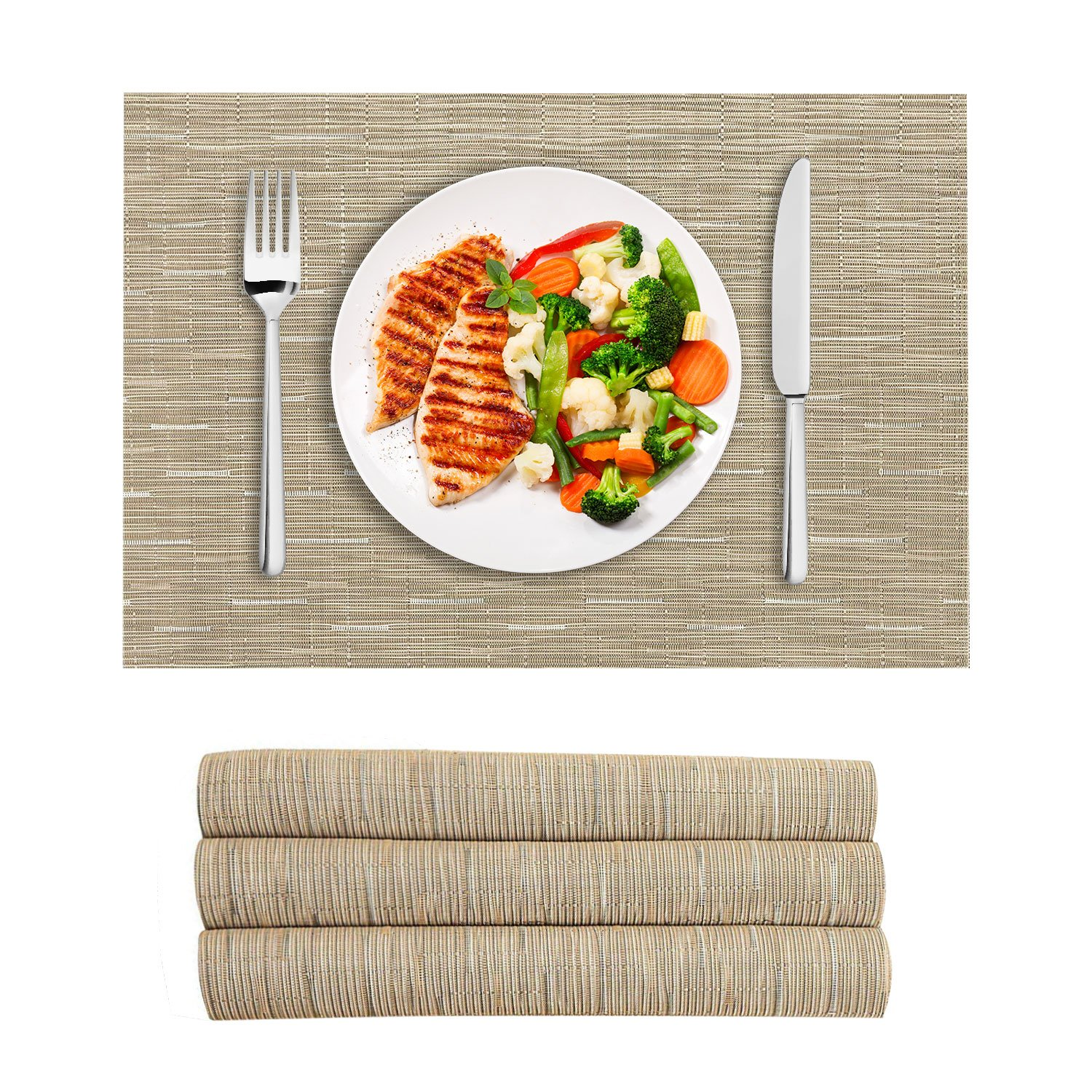 VEEYOO Woven Vinyl Non-slip Insulation Heat Stain Resistant Washable Table Placemats Kitchen Dining Table Top Meal Mat Place Mats, Set of 4, Natural