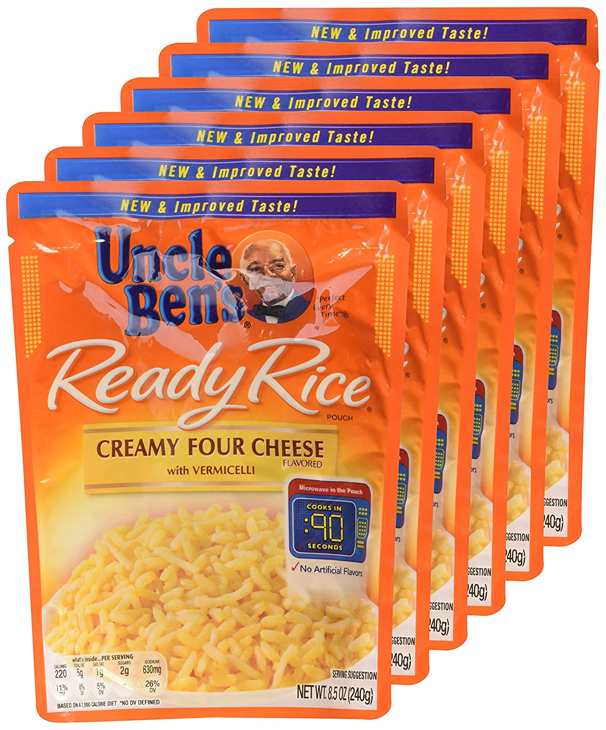 Uncle Ben's, Ready Rice, Creamy Four Cheese, 8.5oz Pouch (Pack of 6)