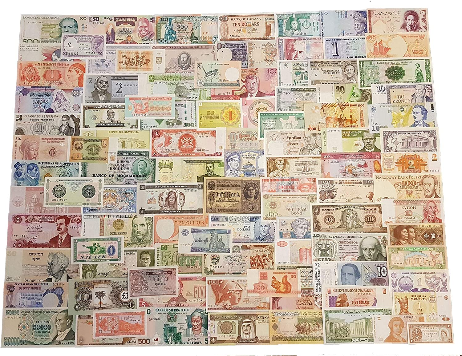 Lot of 100 PCS From 32 Countries Different Banknotes Paper Money   UNC
