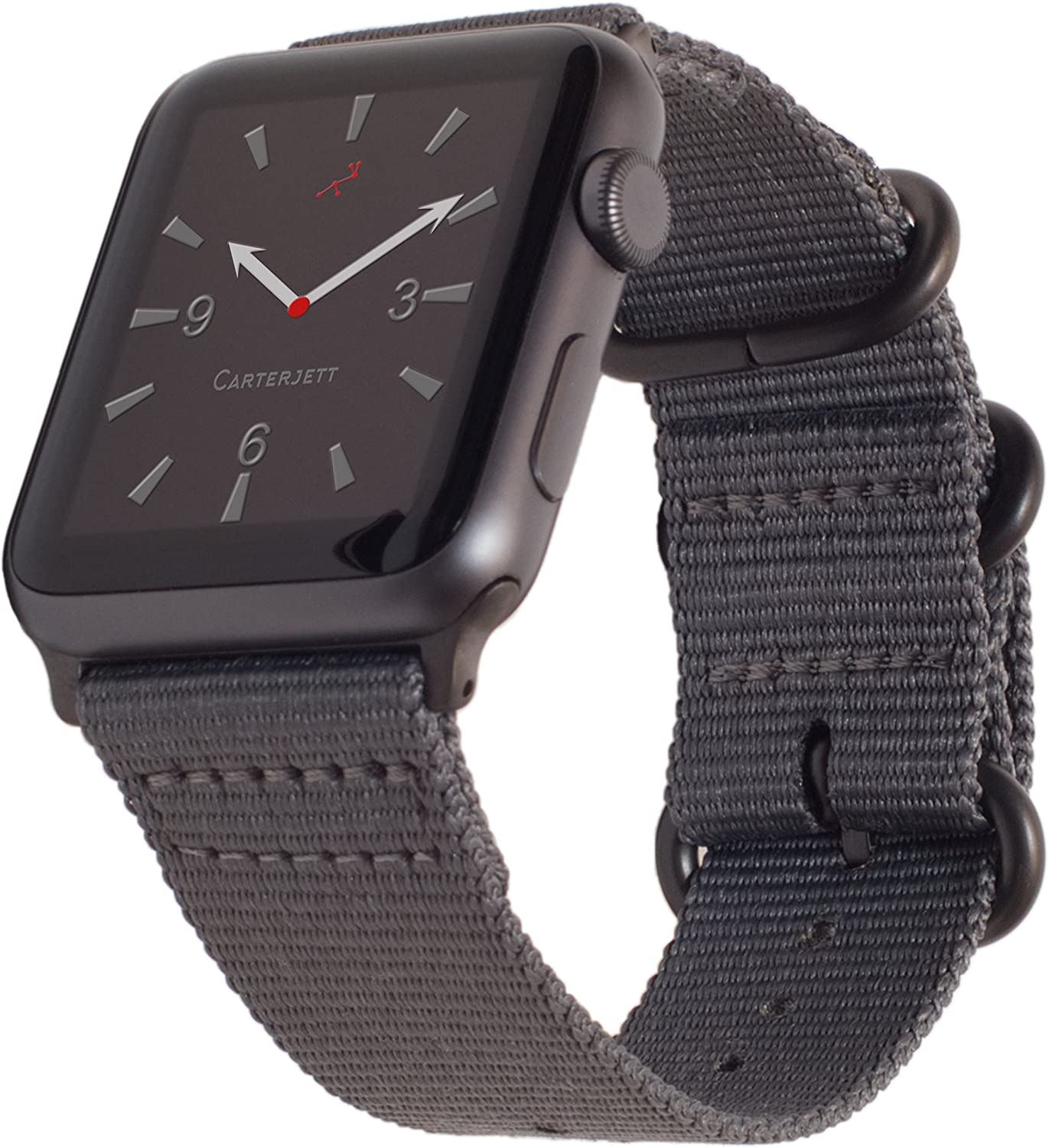 Carterjett Compatible with Apple Watch Band 42mm 44mm Women Men Nylon Rugged Replacement iWatch Band Military-Style Buckle Grey Adapters for Sport Nike Edition Series 6 & SE Series 5 4 3 2 1 (42 44 S/M/L Gray)
