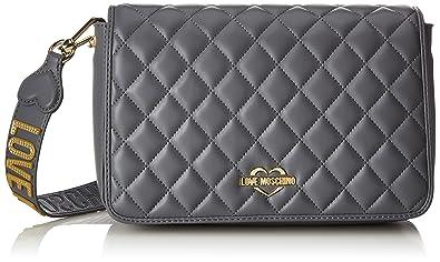 e041b9b1c Love Moschino Borsa Quilted Nappa Pu Grigio, Women's Shoulder Bag, Grey,  6x19x28 cm