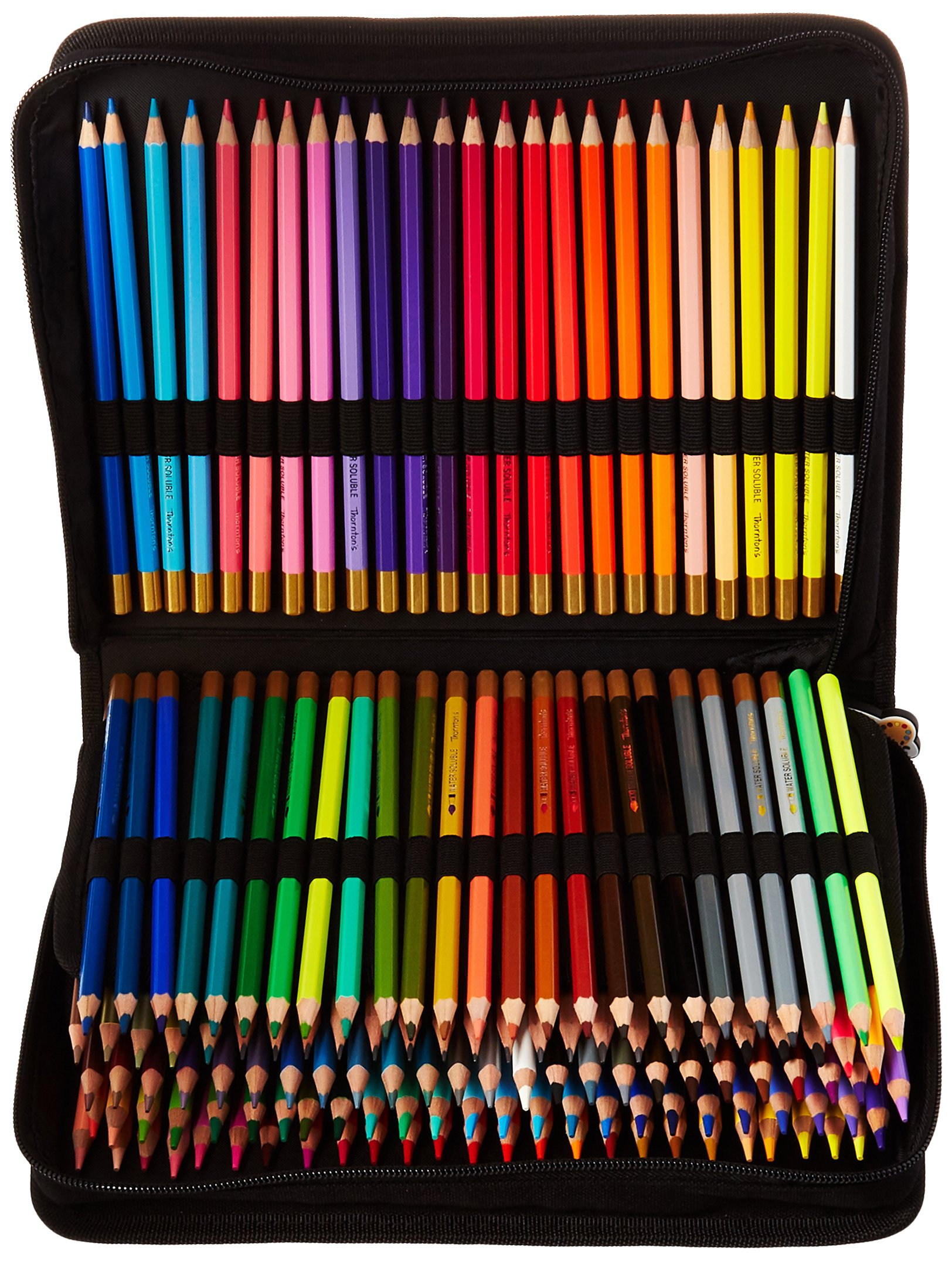 Thornton's Art Supply Premier Premium 150-Piece Artist Pencil Colored Pencil Drawing Sketching Set with Zippered Black Canvas Pencil Case by Thornton's Art Supplies