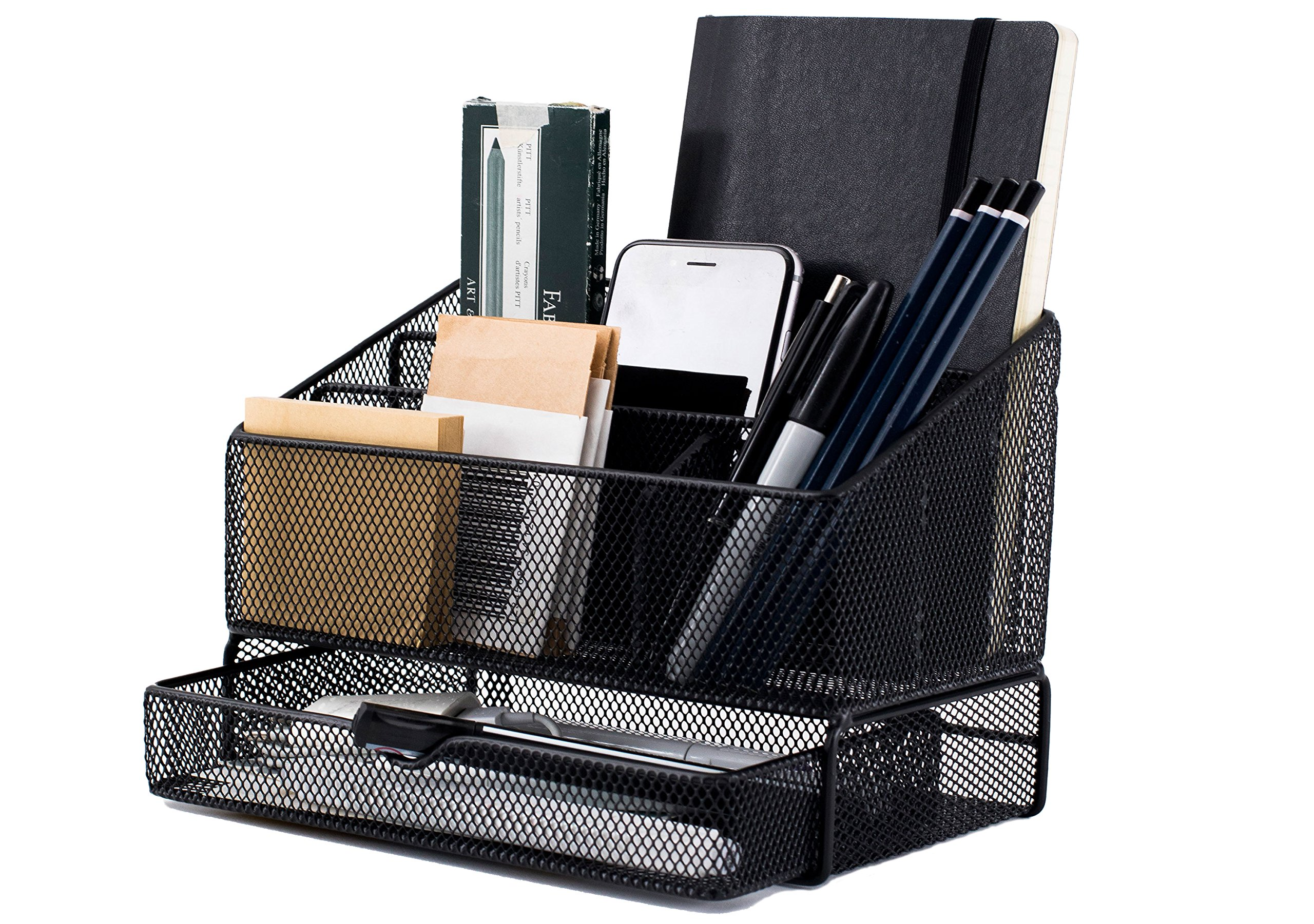 Equippt Desk Organizer Caddy with Draw, Letter Holder & Mail Organizer for Offices out of Black Steel Mesh