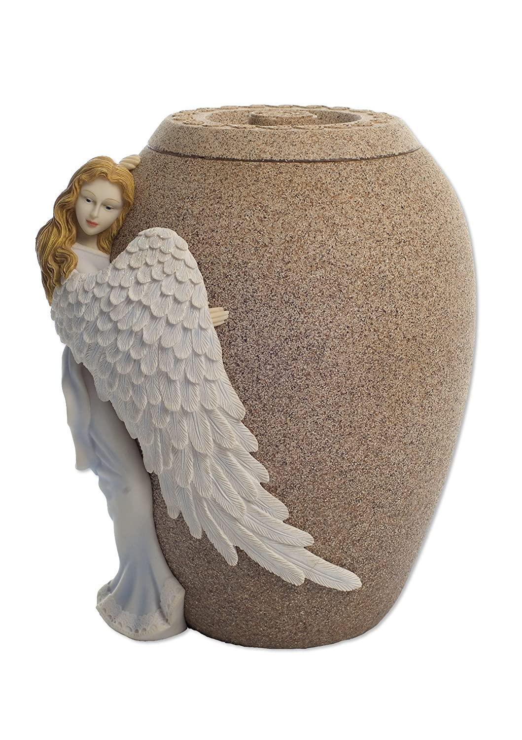 AngelStar Angel s Embrace Hand-Painted Angel, 10-1 2-Inch, Sandstone Finish, 230 Cubic Inch