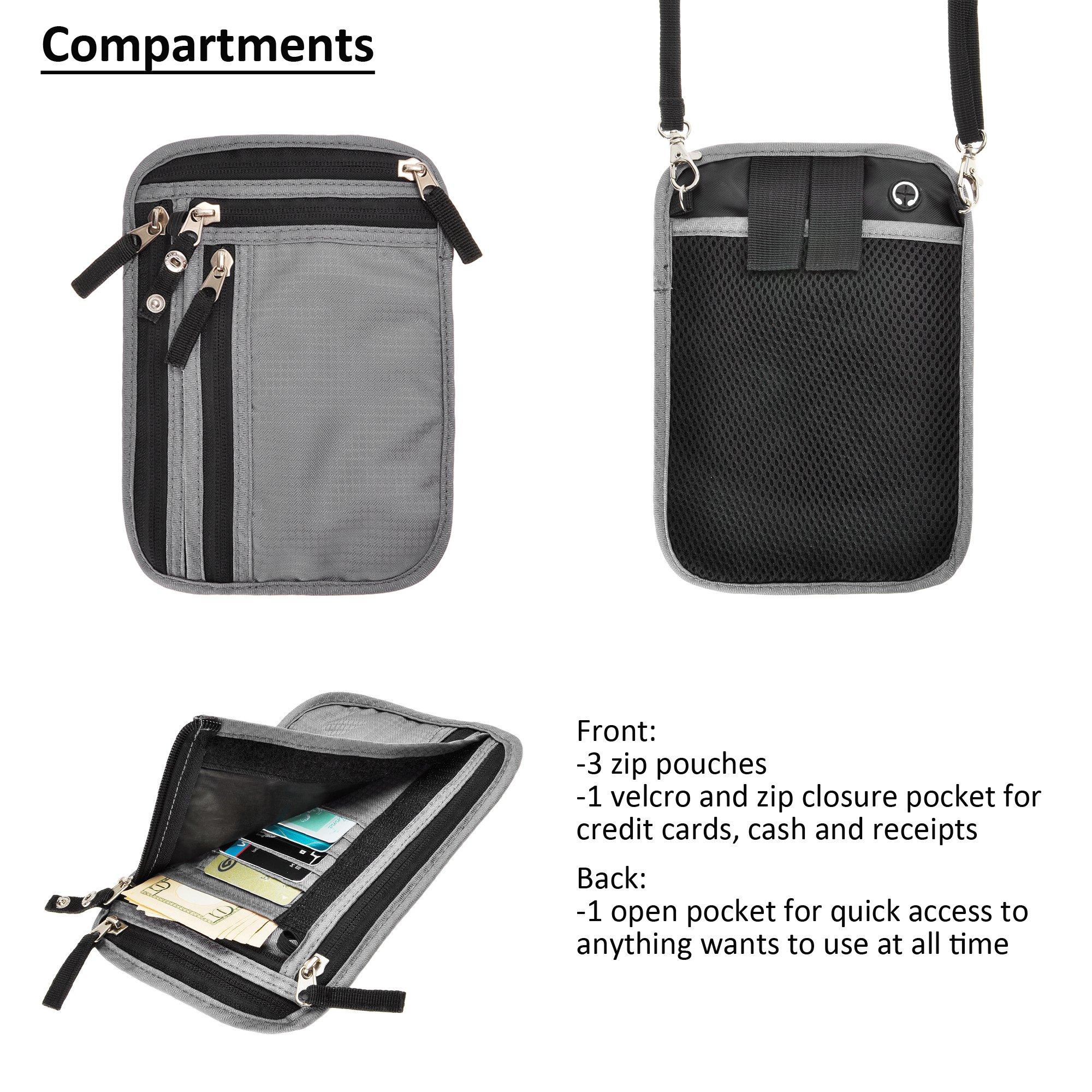 RFID Blocking 2-in-1 Travel Neck Stash and Belt Wallet Security Hidden Passport Holder Pouch by ZLYC (Image #4)