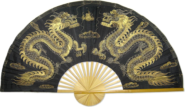 "Large 60"" Folding Wall Fan - Golden Dragons - Original Hand-Painted"