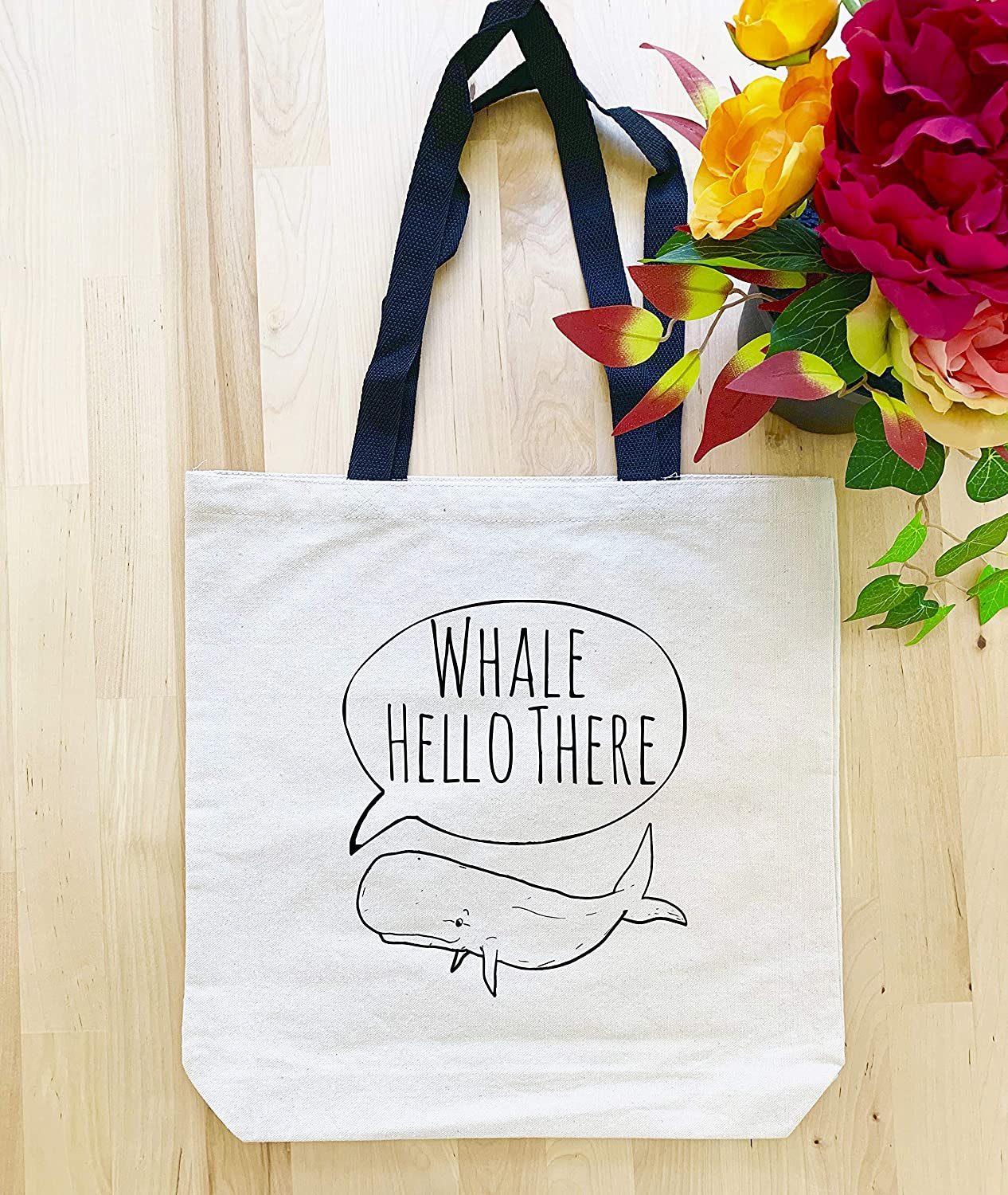 Funny Tote Bag Canvas Tote Bag Screen Printed Whale Hello There
