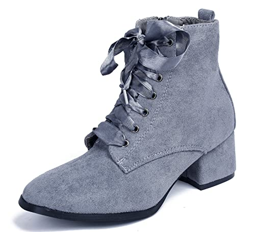 AgeeMi Shoes Womens Lace up Boots Block Heel Ankle Suede Boots Winter Shoes,EuX29  Gray