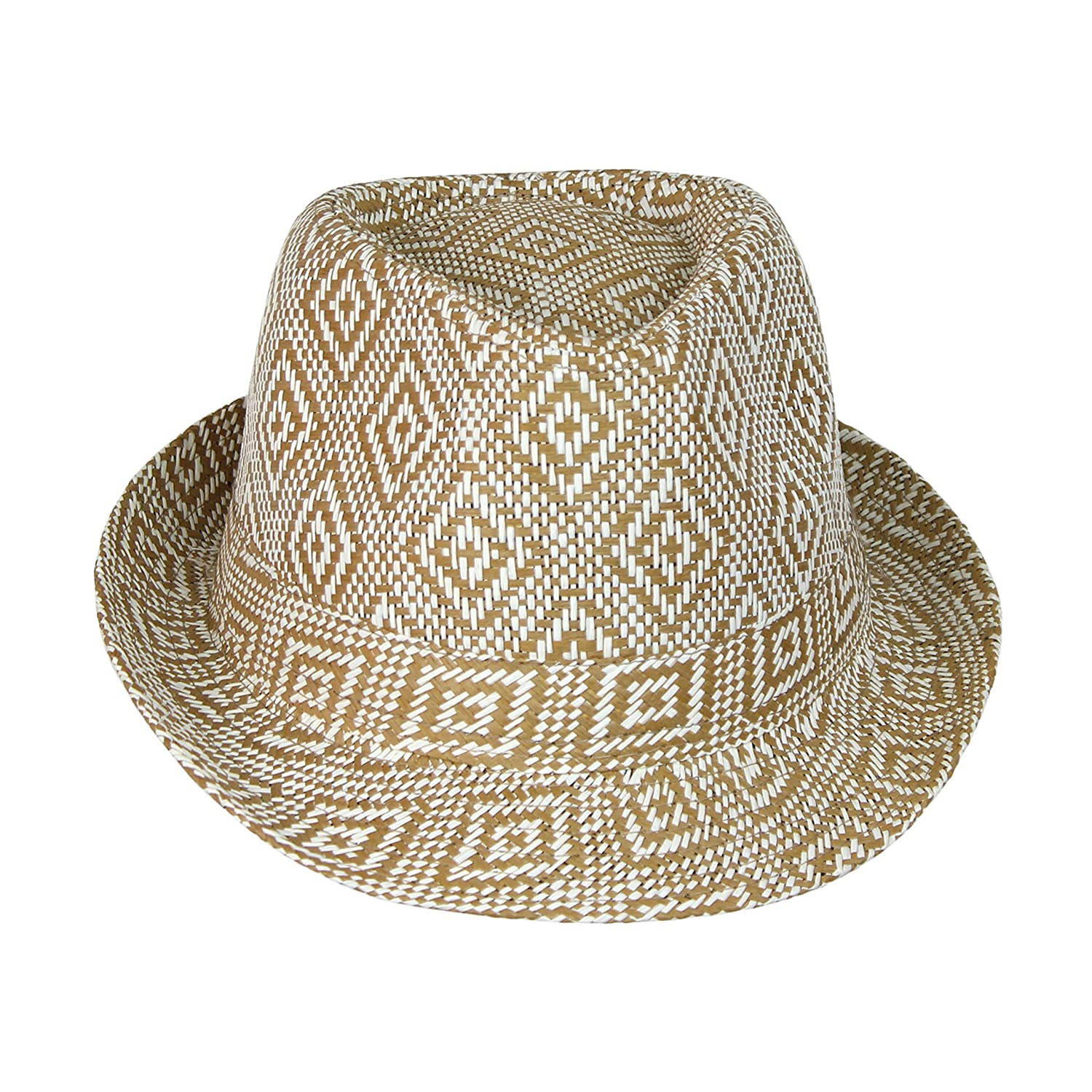 Boho Geometric Design Straw Fedora- Woven Diamond Pattern Trilby Hat Camel  at Amazon Women s Clothing store  b1a73a809594