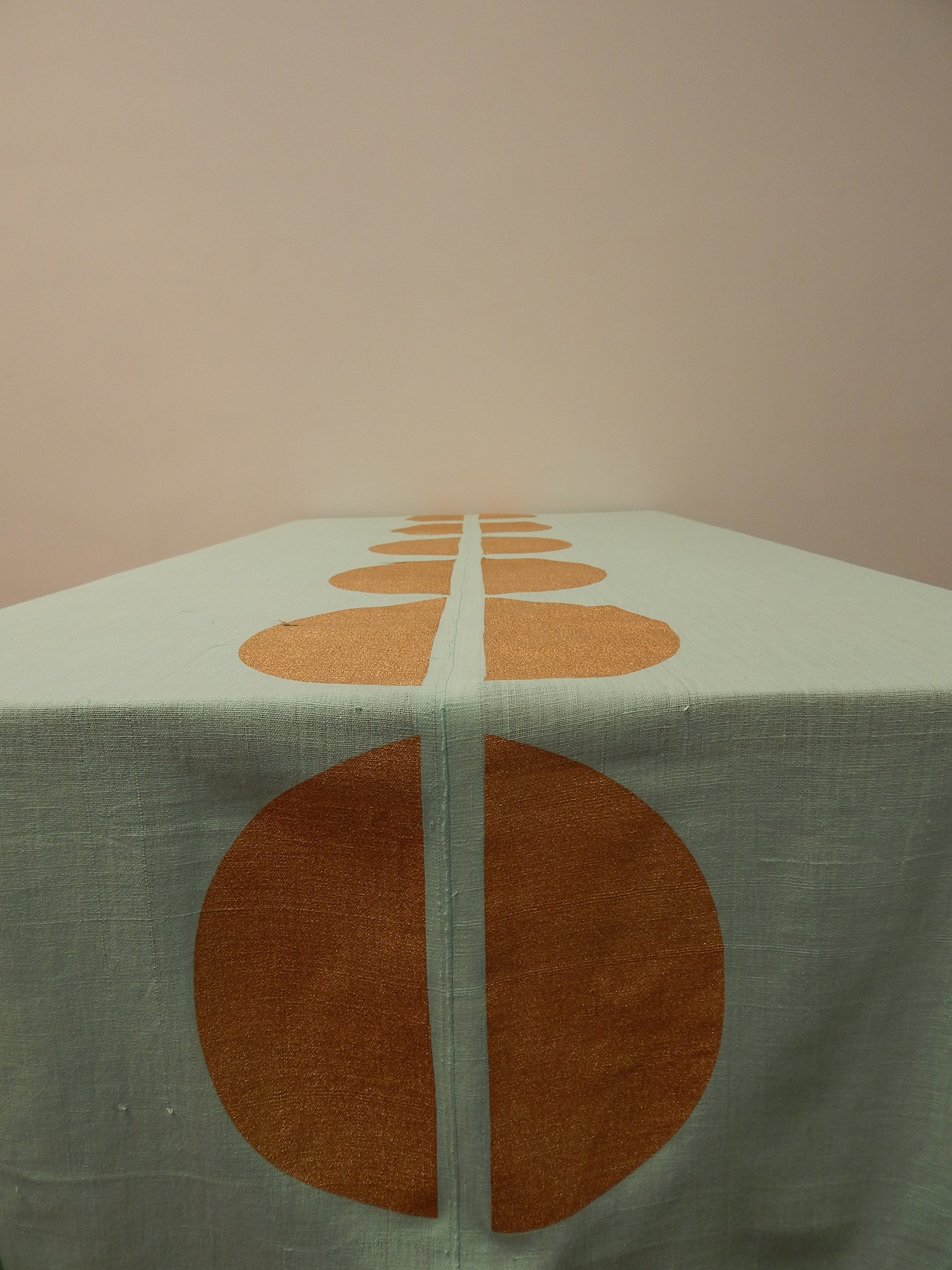 Gitika Goyal Home Cotton Khadi Gold Screen Printed Tablecloth with Dot Design, Blue, 72'' x 72''
