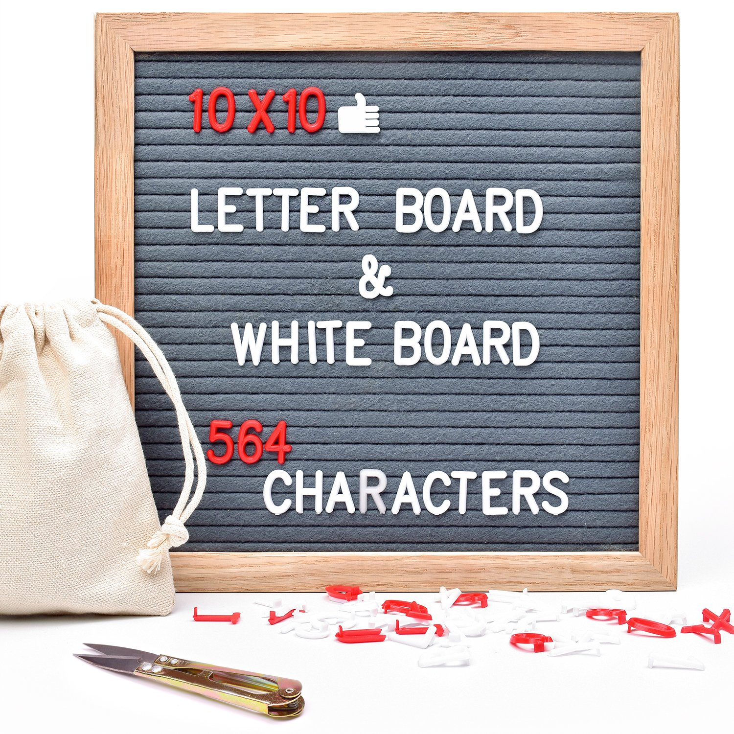 Letter Board BALFER Felt Letter Boards Changeable Message Sign Board with Letters 10x10 Three Colors Plastic Letters Board with Stands Numbers & Symbols Dry Erase Whiteboard