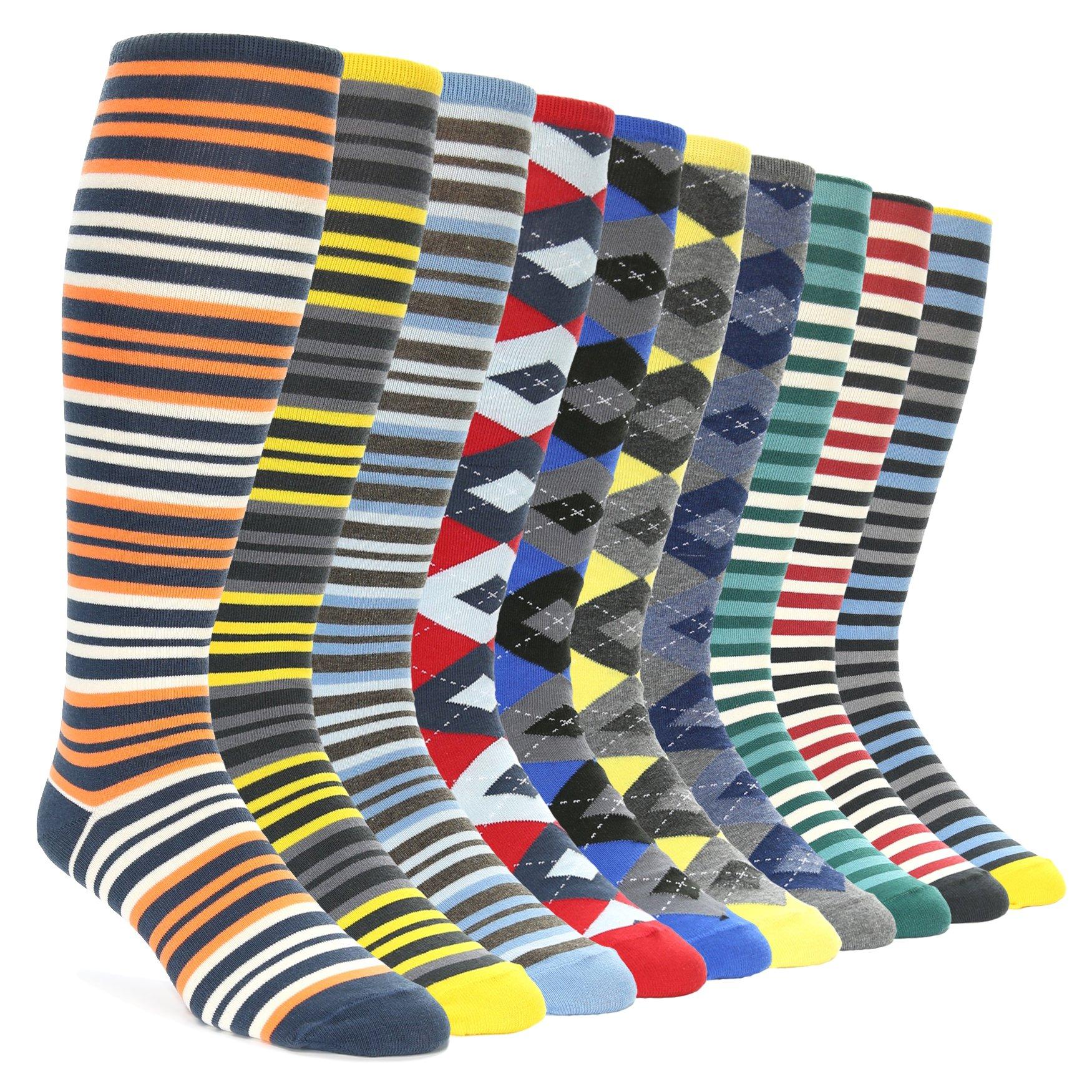 Statement Sockwear Men's Over-the-calf Dress Socks (10 Pair Collection)