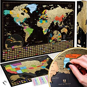 Novelty Place Scratch Off Map of The World with States and Flags Travel Tracker Map Poster Large Size 24 X 17 Complete Scratcher Kit Included Premium Wall Art Gift for Loved Ones
