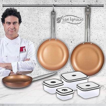 San Ignacio Copper Plus Set de 3 sartenes + 4 recipientes ...