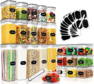 25 Pack Airtight Food Storage Containers Set, PRAKI BPA Free Plastic Dry Food Canisters for Kitchen Pantry Organization and Storage, Kitchen Storage Containers for Cereal, Flour - Labels, Mark(Grey)