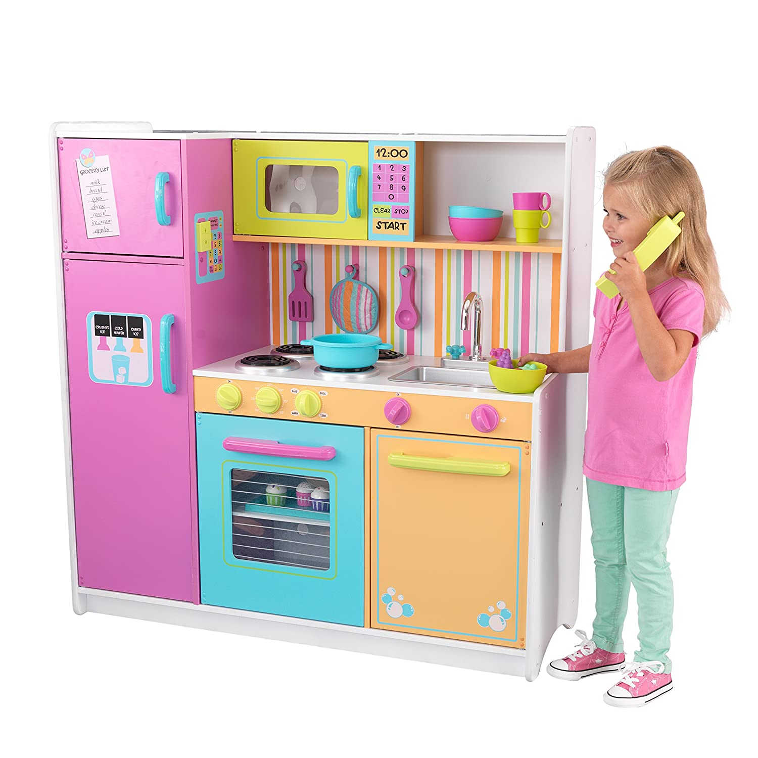 Kidkraft 53100 Deluxe Big And Bright Wooden Pretend Play Toy Kitchen