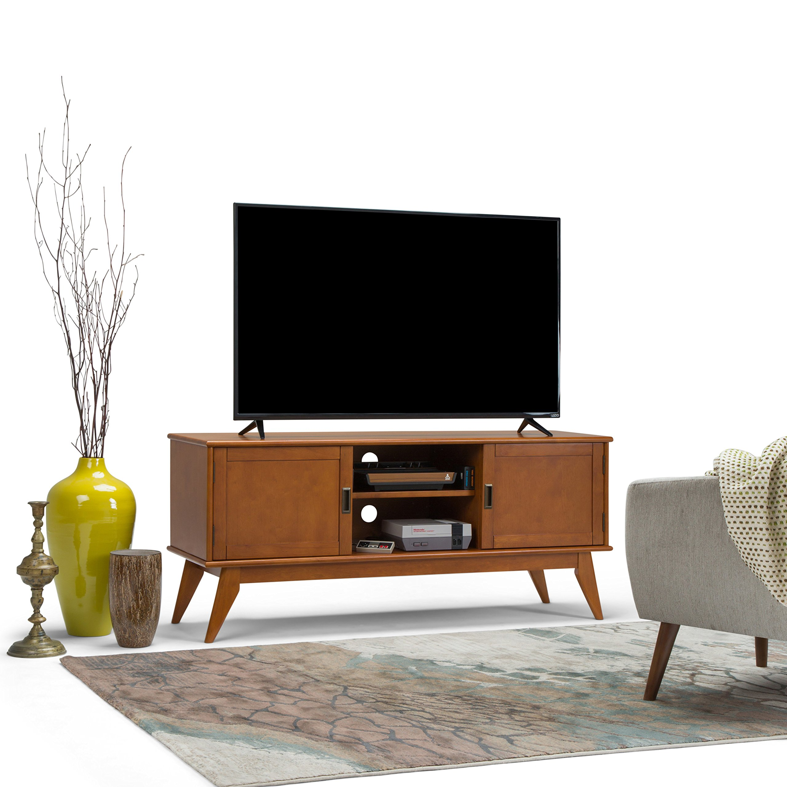 new styles 65f40 2bee1 Simpli Home 3AXCDRP-07-TK Draper Solid Hardwood 60 inch wide Mid Century  Modern TV media Stand in Teak Brown For TVs up to 65 inches