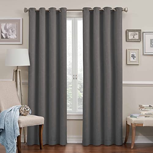 ECLIPSE 52 x 95 Insulated Darkening Single Panel Grommet Top Window Treatment Curtains for Bedroom Round Living Room, Grey