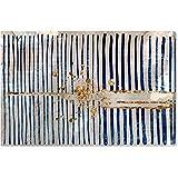 "Rivet Blue Stripes and Gold Burst Canvas Print Wall Art Decor, 45"" x 30"""