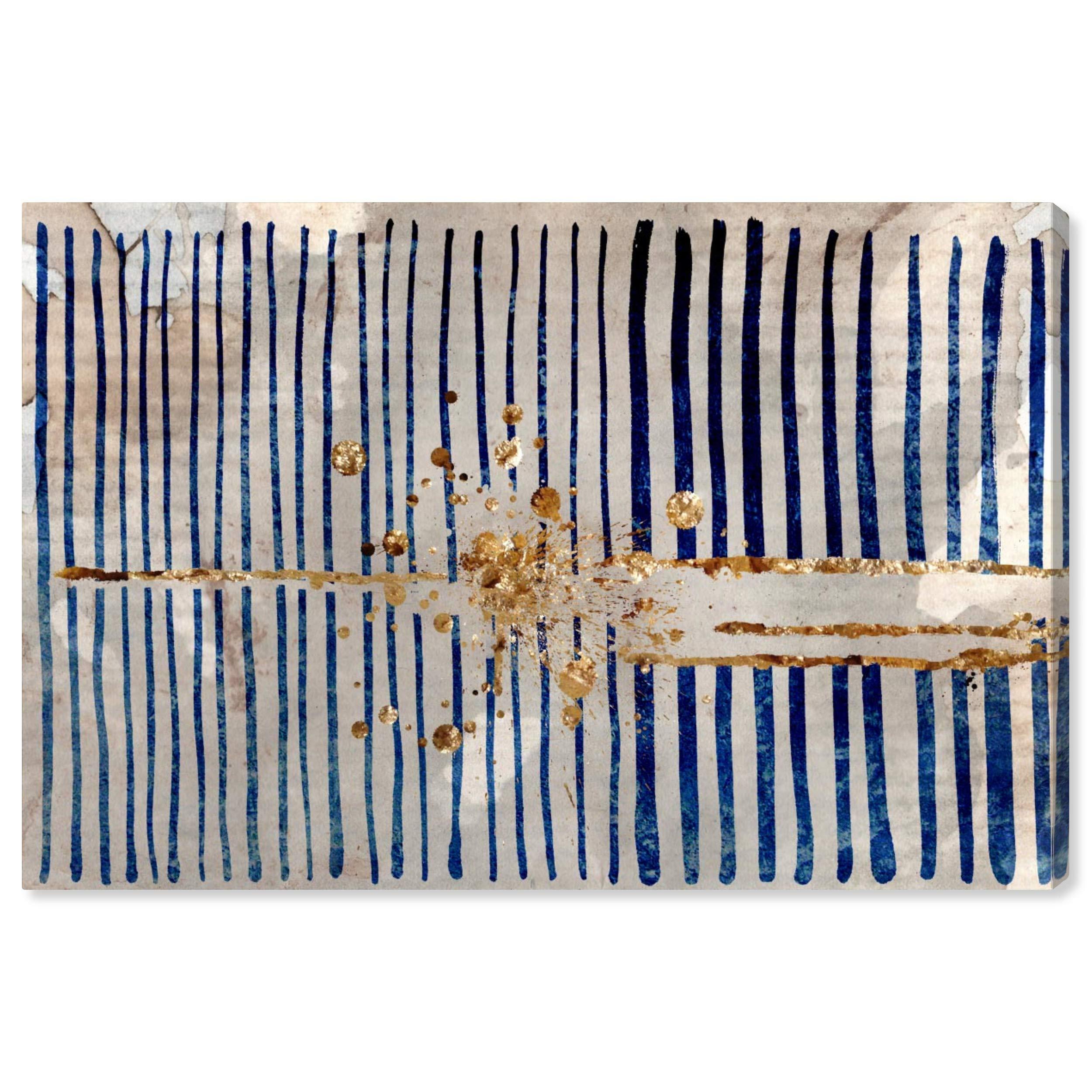 Rivet Blue Stripes and Gold Burst Canvas Print, 36'' x 24''