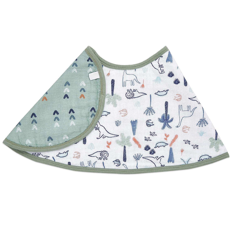 "aden + anais Burpy Baby Bib, 100% Cotton Muslin, Soft Absorbent 4 Layers, Multi-Use Burp Cloth and Bib, 22.5"" X 11"", Single, Dino Time: Baby"