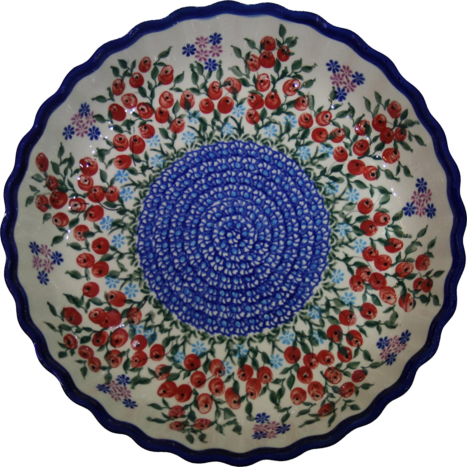 Polish Pottery Ceramika Boleslawiec 1212/282 Royal Blue Patterns 4-Cup 9-7/8-Inch Diameter Pie Baker, Small, Red Berries and Daisies
