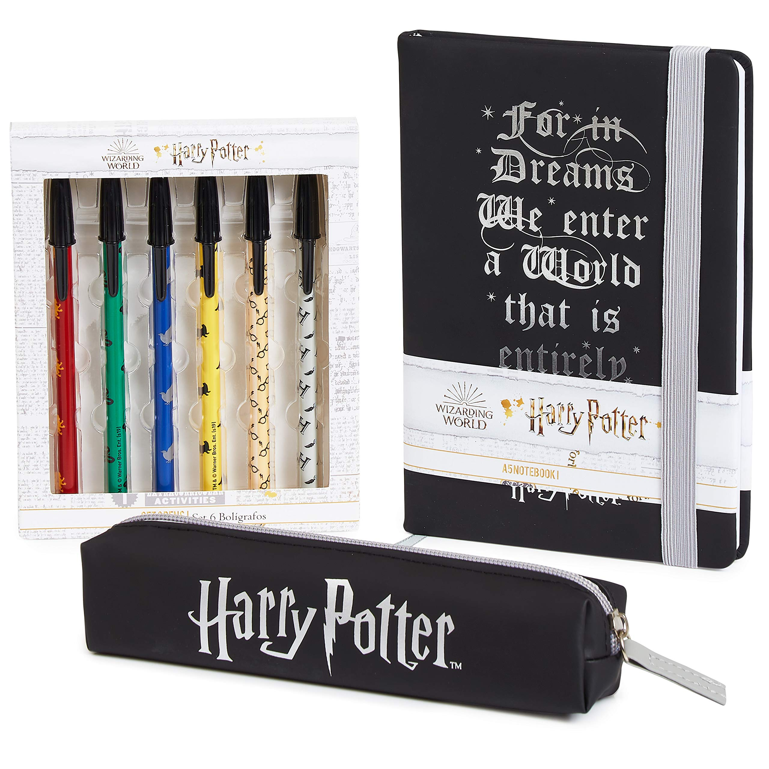 Harry Potter Stationery Set with Notebook A5, Pencil Case and 6 Pens, Cute Writing Sets for Girls and Boys, Official Hogwarts Wizarding World School Supplies, Gift Idea for Kids and Teenagers