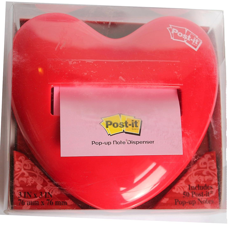 Post-It Pop-Up Notes 3 x 3 Red Heart Dispenser 3M