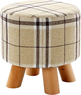 Ottoman Footstool - Round Pouf Ottoman Foot Rest With Removable Tartan Print Linen Fabric Cover  sc 1 st  Amazon.com : round foot stools - islam-shia.org