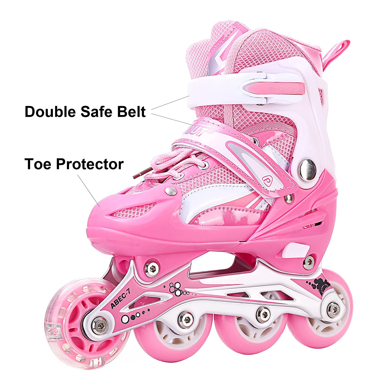 PACKGOUT Girls Inline Skates Adjustable Rollerblades for Kids Girls Illuminating Wheel The Premium Breathable Mesh Roller Skates Double Secure Lock