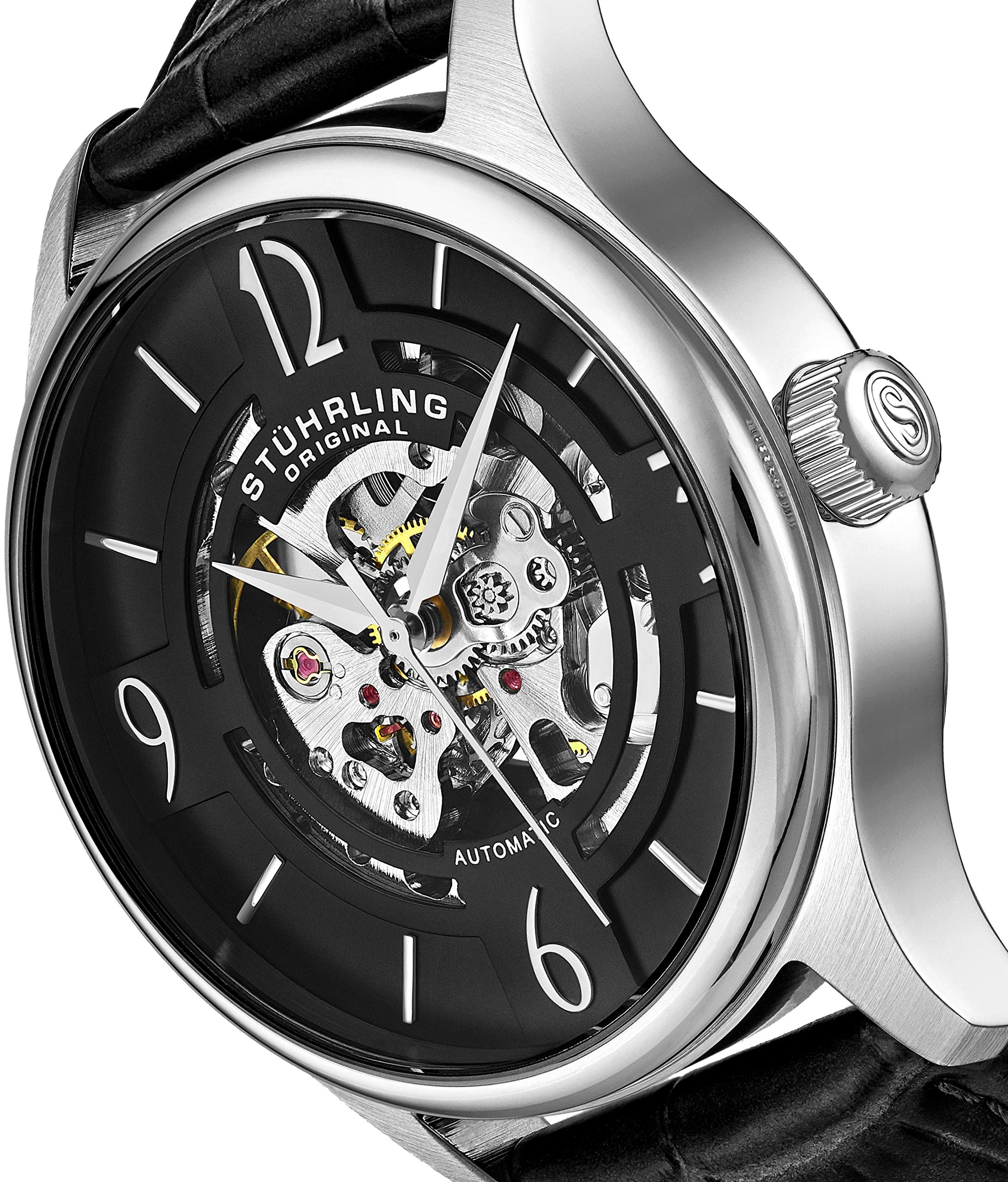 Stuhrling Original Mens''Specialty Atrium'' Skeleton Automatic Self Winding Dress Watch with Premium Leather Band by Stuhrling Original (Image #6)