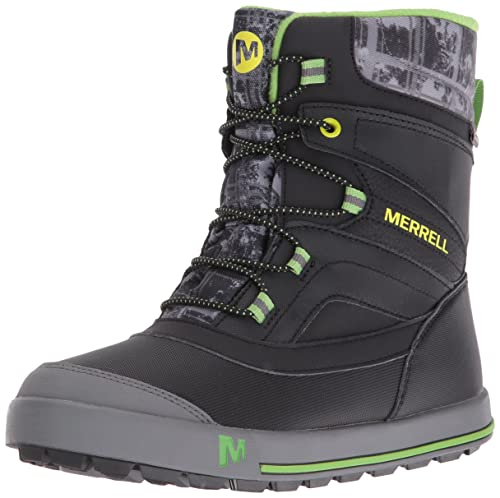 Merrell Snow Bank 20 Waterproof Boys Laceup High Rise Hiking  Black