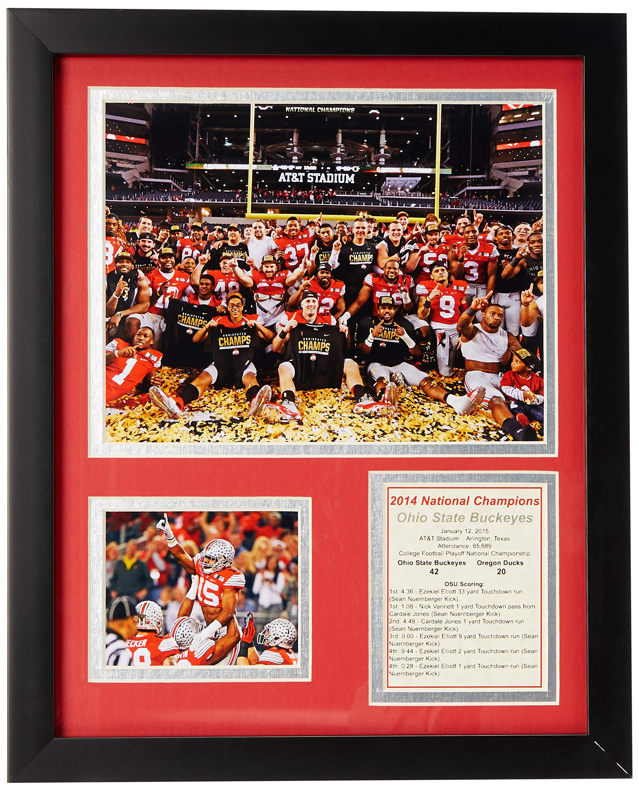 NCAA Ohio State Buckeyes Legends Never Die Framed Photo Collage (2014 CFP Football National Champions), Celebration 1, 11 x 14-Inch by Legends Never Die