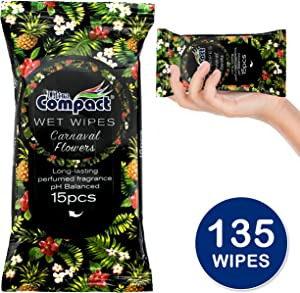 Ultra Compact Natural Wet Wipes - Alcohol Free Body and Hand Cleaning Wipes - Great for Camping, Travel and Personal Hygiene - Carnaval Fragrance Cleansing Cloths - 9 Packs (135 Count) Hand Wipes