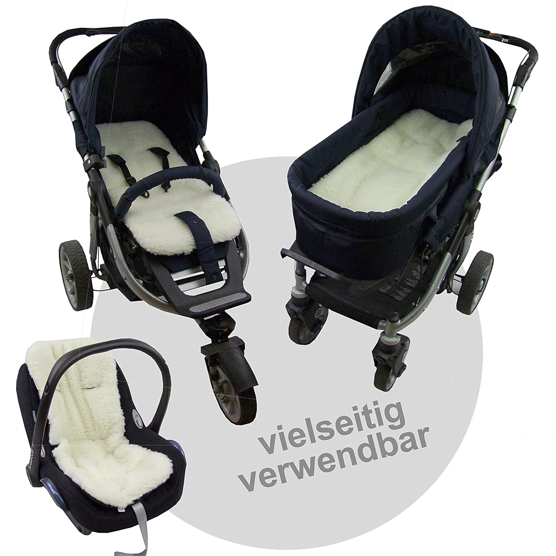 BAMBINIWELT Auflage SITZUNTERLAGE für Buggy Jogger Babyschale Wolle (Mod-WW)