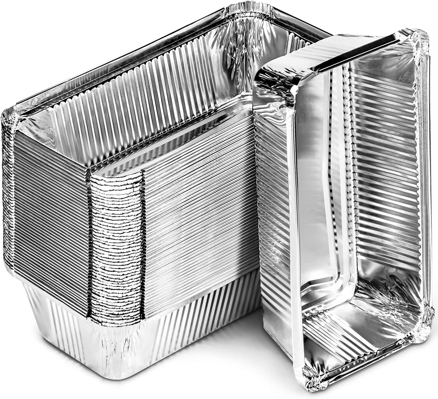DecorRack 50 Bread Loaf Pans 8.5 x 4.5 Inch Aluminum Foil Pans Food Storage Container, For Cooking, Baking, Storing, Meal Prep Homemade Bread Pans (50 Pack)