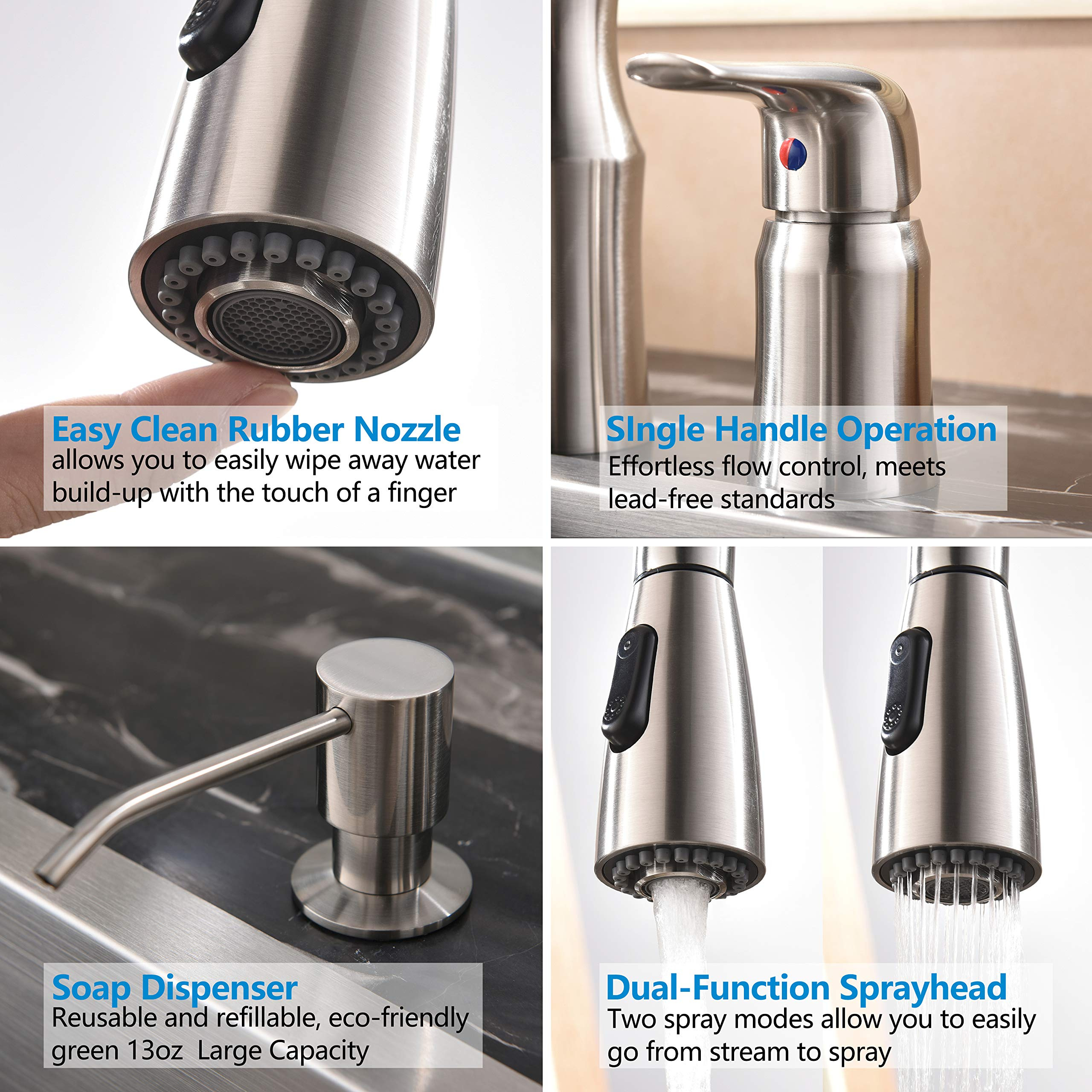 Hotis 3 Hole Kitchen Sink Faucet with Pull Down Sprayer Soap Dispenser Stainless Steel Single Handle Kitchen Faucet, Brushed Nickel by HOTIS HOME (Image #3)