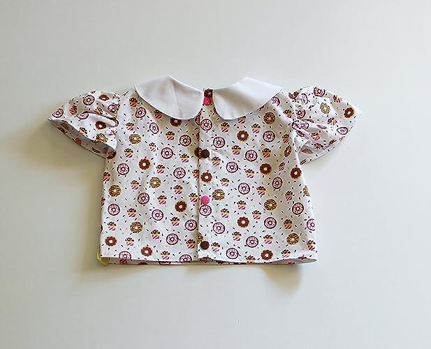 a7b9fdab1c42e Blouse Chemise T-shirt Eté Bébé Fille en Coton Imprimé Blanc Marron Col  Claudine Manches