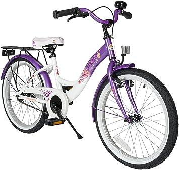 BIKESTAR Bicicleta para niños con Lateral y Accesorios para niños de 6 años | edición clásica de 20 Pulgadas | Morado y Blanco: Amazon.es: Juguetes y juegos
