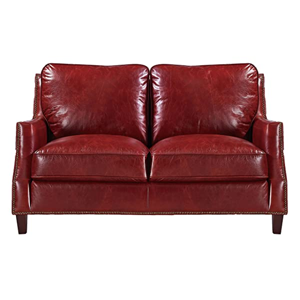 Oliver Pierce OP0055 Braxton Leather Loveseat, Red