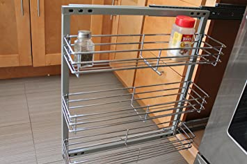 Spice Rack  In Cabinet Pull Out 3 Shelves 5.5u0026quot; Wide Wall Mounted