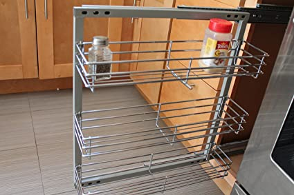 Amazon Com Spice Rack In Cabinet Pull Out 3 Shelves 5 5 Wide Wall
